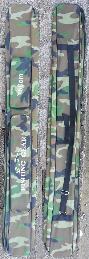 Fodero portacanne in nylon mimetico woodland 150x13x13 con bretelle e chiusure a zip con tasche