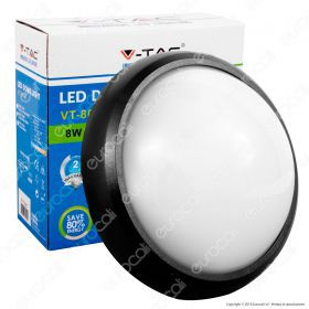 8W Dome Light Round Black Body 3000K IP66