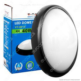 8W Dome Light Oval Black Body 4000K IP66