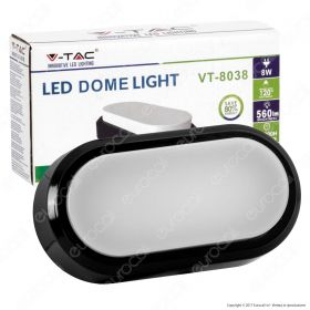 8W Rectangle Oval Dome Light Black Body 6000K IP54