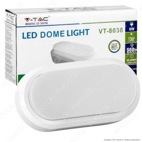 8W Rectangle Oval Dome Light White Body 6000K IP54