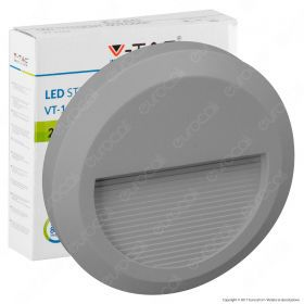 2W LED Step Light Grey Body Round 3000K
