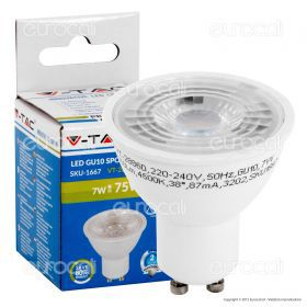 LED Spotlight - 7W GU10 Plastic With Lens 6000K  Dimmable 38°