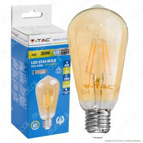 LED Bulb - 4W Filament E27 Amber Cover ST64  2200K Dimmable