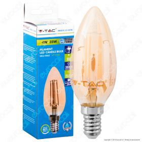 LED Bulb - 4W Filament  E14 Candle Amber Cover 2700K