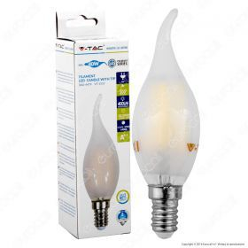 LED Bulb - 4W Filament  E14 Frost Cover Candle Tail 2700K