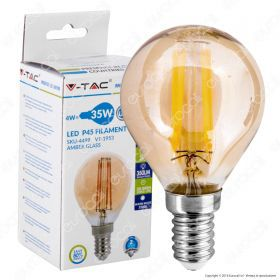 LED Bulb - 4W Filament  E14 P45 Amber Cover 2200K
