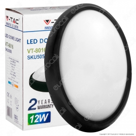 12W Oval Dome Light Fitting Black Body Round 4500K IP65