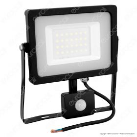 30W LED Sensor Floodlight Black Body SMD 6000K