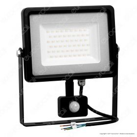 50W LED Sensor Floodlight Black Body SMD 6000K