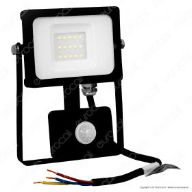 10W LED Sensor Floodlight Black Body SMD 6400K