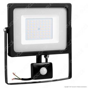 50W LED Sensor Floodlight Black Body SMD 3000K