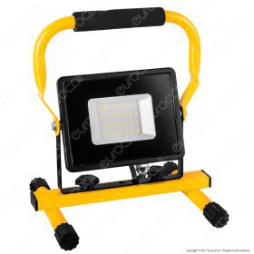 30W LED SMD Slim Floodlight with Stand And EU Plug Black Body 6400K