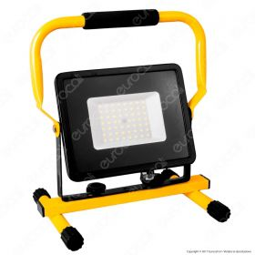 50W LED SMD Slim Floodlight with Stand And EU Plug Black Body 6400K