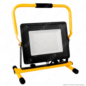 100W LED SMD Slim Floodlight with Stand And EU Plug Black Body 3M cable 6400K