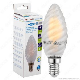 LED Bulb - 4W Filament  E14 Frost Cover Twist Candle 6400K