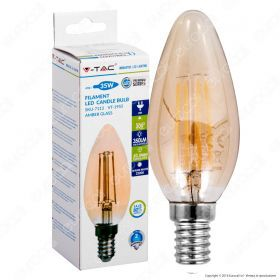 LED Bulb - 4W Filament  E14 Candle Amber Cover 2200K