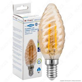LED Bulb - 4W Filament  E14 Candle Amber Cover Twist 2200K