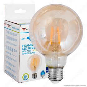 LED Bulb - 6W Filament  E27 G95 Amber 2700K Dimmable