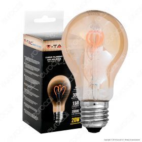 LED Bulb - 3W E27 Filament Gold Glass Curve Shape A60 2200K