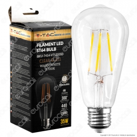 LED Bulb - 4W Filament E27 Clear Cover ST64 2700K Dimmable