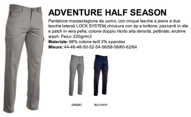 Pantalone ADVENTURE HALF SEASONS uomo multitasche cotone twill e Spandex