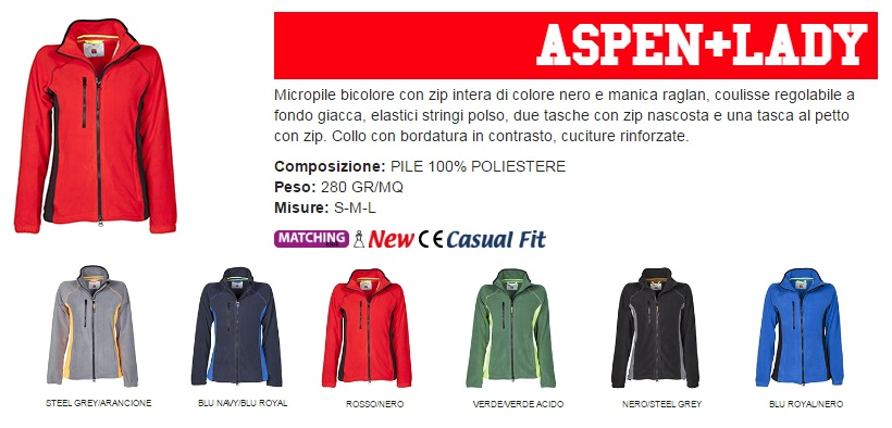 Micropile ASPEN + LADY bicolore sfiancato da donna, zip intera 8mm in plastica nera