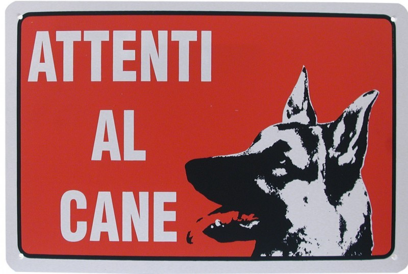 Cartello segnaletica proprieta' ATTENTI AL CANE in pvc rigido mis. 20x30 cm