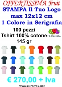 100 TSHIRT FRUIT OF DE LOOM DA PERSONALIZZARE CON SERIGRAFIA AD 1 COLORE