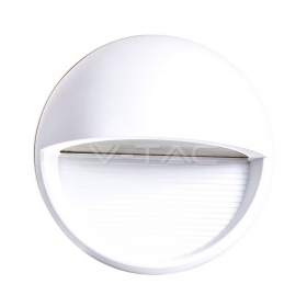 3W LED Step Light White Body Round 3000k