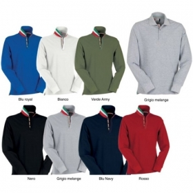 Polo LONG NATION manica lunga cotone piquet colletto colorato