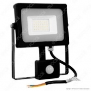 20W LED Sensor Floodlight Black Body SMD 6400K