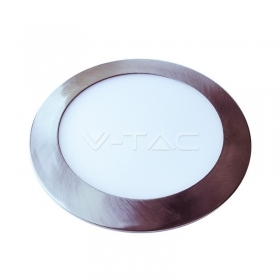 6W LED Slim Panel Light Satin Nickel Round 6000K