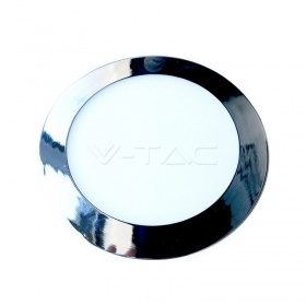 12W LED Slim Panel Light Chrome Round 3000K