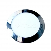 12W LED Slim Panel Light Chrome Round 4500K