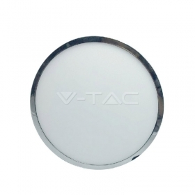 12W LED Surface Panel Light Chrome Round 3000K
