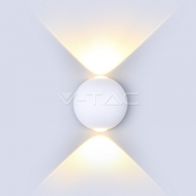 6W LED Wall Light White Body Round IP65 3000K