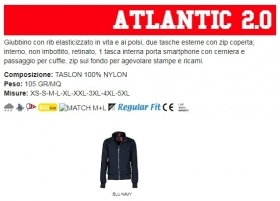 Giubbino ATLANTIC2.0 uomo, zip da 8mm