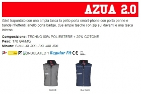 Gilet AZUA 2.0 unisex, zip 8mm in plastica con cursore in metallo