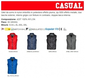 Gilet/Piumino CASUAL uomo, zip SBS 8mm in plastica con cursore in metallo
