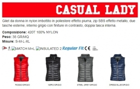 Gilet/Piumino CASUAL LADY ergonomico da donna, zip SBS 8mm in plastica con cursore in metallo