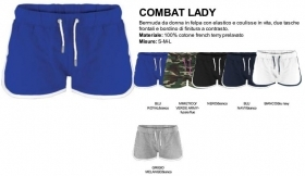 Bermuda COMBAT LADY donna in felpa, elastico e coulisse in vita