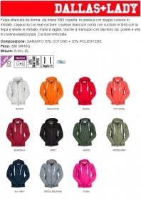Felpa DALLAS LADY misto cotone full zip con cappuccio