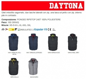 Gilet DAYTONA unisex, zip 8mm in plastica con cursore in metallo