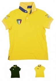 Polo Italia in 100% cotone Piquet con vari stemmi applicati