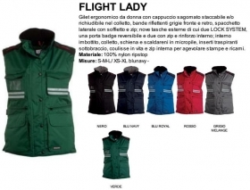 Gilet FLIGHT LADY ergonomico da donna, zip 8mm in plastica con cursore in metallo con patta e bottoni in plastica