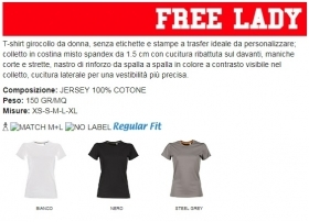 T-shirt FREE LADY girocollo ma