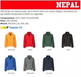 Pile NEPAL zip intera in nylon cursore singolo
