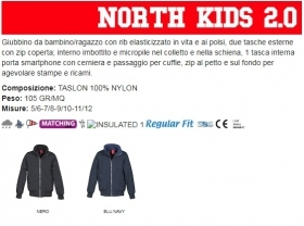 Giubbino NORTH KIDS2.0  bambino, zip da 8mm, in plastica con cursore in metallo