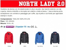 Giubbino NORTH LADY2.0 ergonomico da donna, zip da 8mm, in plastica con cursore in metallo
